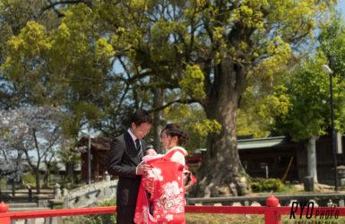お宮参りの親子写真