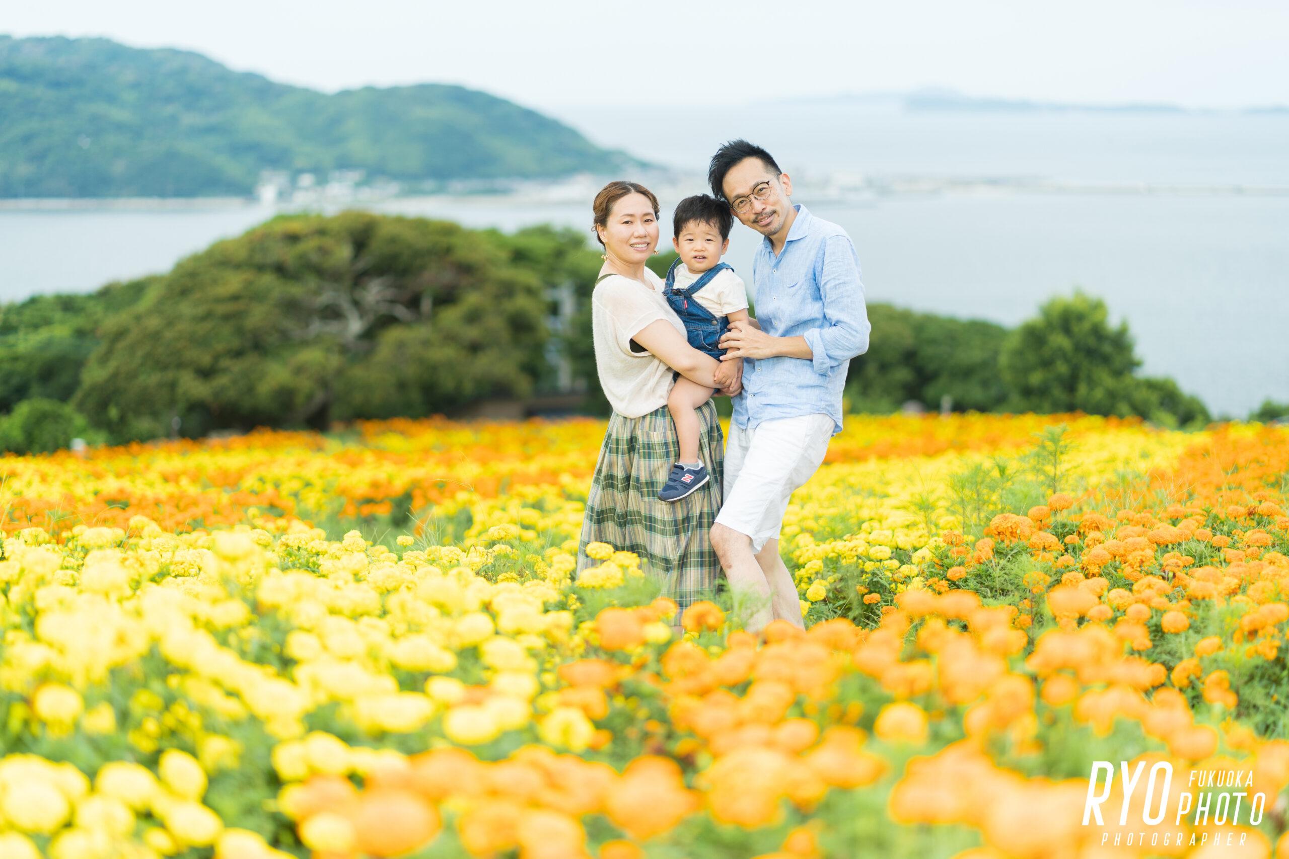 能古島で撮影した家族写真